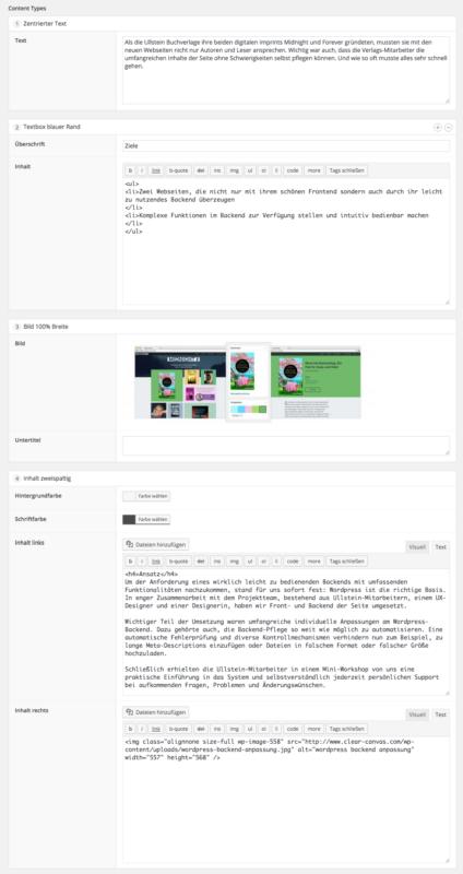 Flexible Inhalte WordPress