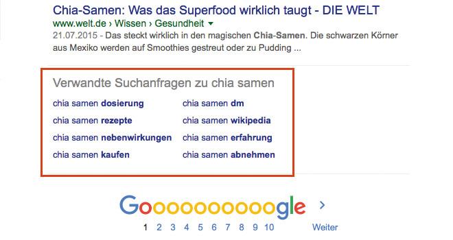 google verwandte keywords