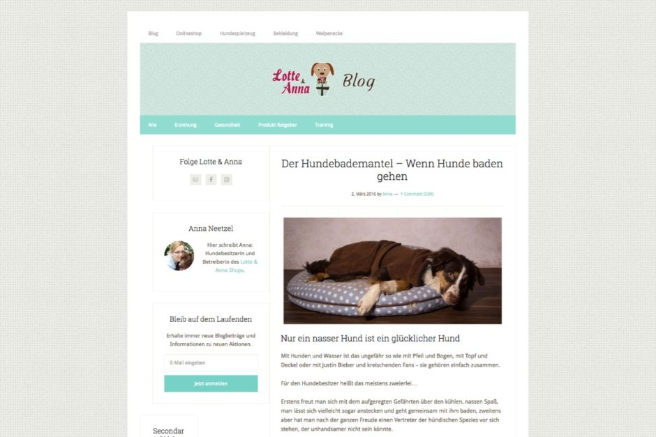 Content Marketing Hundebademantel