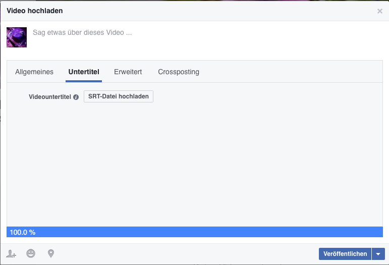 Untertitelfunktion bei Facebook