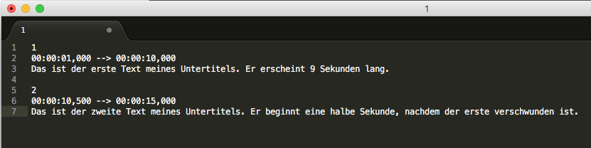 Untertitel mit Sublime Text